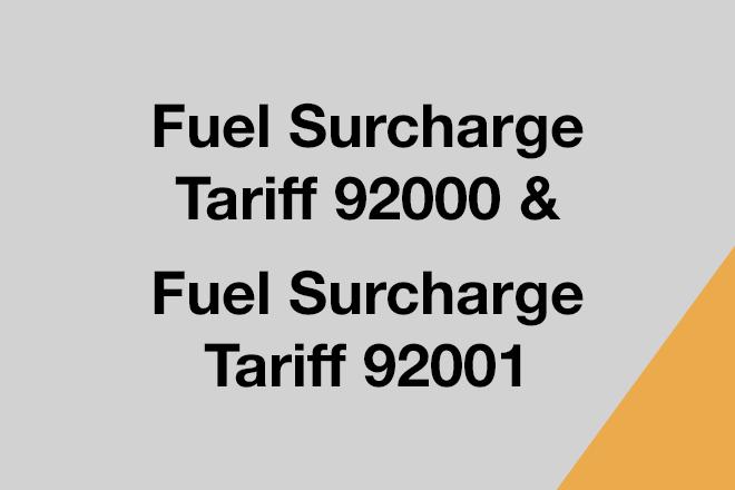 Fuel Surcharge Tariff 92000 & Fuel Surcharge Tariff 92001